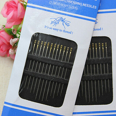 Hot 24x Hand Stitches Needles Self Threading Easy to Thread Assorted Pins WOW
