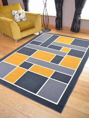 Ochre Mustard Gold Grey Squares Runner Small Extra Large Long Carpets Rugs Cheap