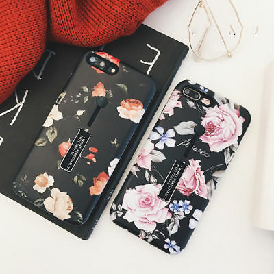 For iPhone X 8 7 6S Plus Retro Rose Flower Phone Case Finger Ring Hold Kickstand
