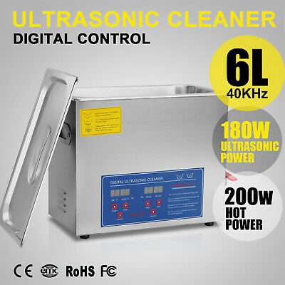 New 6L Ultrasonic Cleaner Stainless Steel Industry Heating Heater w/Timer