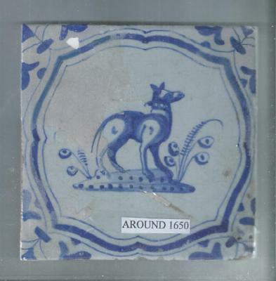 Antique Delft Tile Around 1650