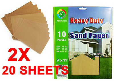 20 Sheets Assorted Grits Sandpaper Sanding Paper 9 x 11 inch LOT for Wood Paint