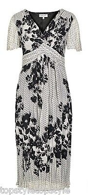 New Marks And Spencer Twist Front Floral Print Crinkle  Midi  Dress Only Size 10