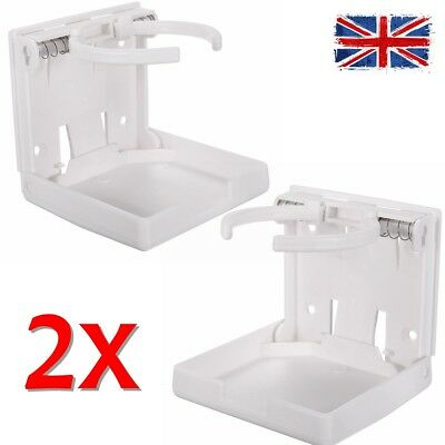 Pair Boat Marine Adjustable WHITE Folding Drink Cup Holder Mount Caravan Car RV