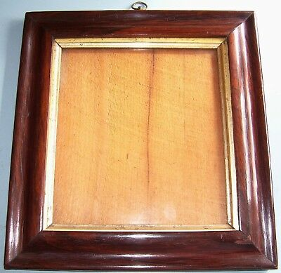 Antique Georgian Rosewood Ogee Profile Gilt Slip Picture Frame Old Glass C.1860