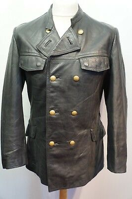Vintage German Striwa Leather Police Officers Pea Coat Jacket Size S