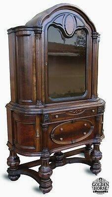 Rare Antique Jacobean English Style Walnut Hutch China Cabinet Early 1900's