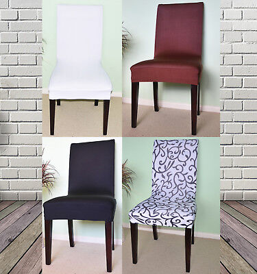 Washable Removable Spandex Lycra Stretch Dining Chair Cover  Slipcover 6 Pcs