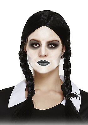Scary Daughter Plaited Pig Tail Halloween Wednesday Addams Fancy Dress Wig