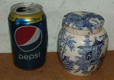 Antique Chinese Blue White Porcelain Willow Pattern Ginger Jar With Lid