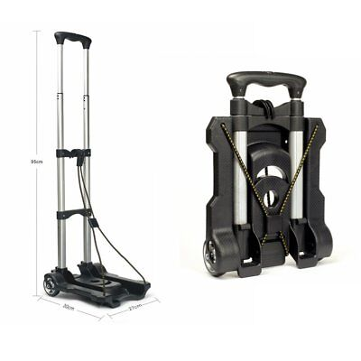 Aluminium Portable Luggage Cart Folding Hand Truck Travel Shopping Trolley New