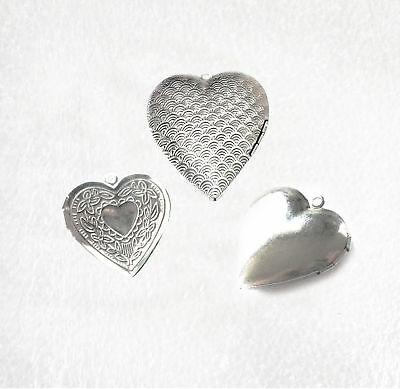 Heart shaped hinged locket stainless steel for pendant, charms