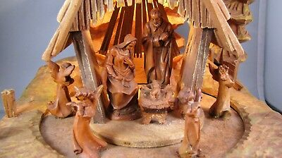 Vtg Anri Carved Wood Nativity Music Box /Angels Lighted Mechanical Thorens TLC