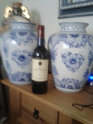 vintage pair of very large faria and bento blue and white vases c1982