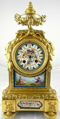 Antique French 1855 Vincenti gilt ormolu bronze & Sevres porcelain mantle clock