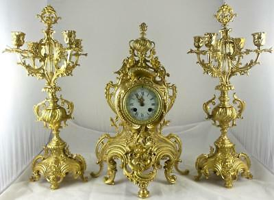 Antique French 19thc Gilt Bronze Rococo 3 piece 8 day Mantle Clock Garniture Set