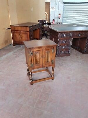 Old Charm Furniture Solid Oak Linen-Fold Chest/bedside/storage/telephone Table