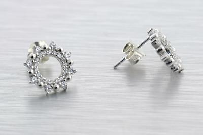 Stud Earrings White Cubic Zirconia Solid S925 Sterling Silver