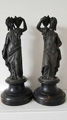 Pair of Antique Spelter Female Figurines 10.5 in tall plus wooden base