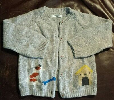 Baby Boden Toddler Boys Dog House Sweater Gray Super Soft 18 - 24 Months EUC