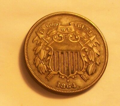 "***1864  Two Cent Piece  Has Full Bold ""we""  Scarce Old Coin"