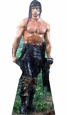 """Rambo Sylvester Stallone Life Size 69"""" Tall CARDBOARD CUTOUT Standup Standee"""