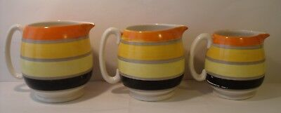 Set Of 3 Graduated Susie Cooper Grays Pottery Banded Jugs