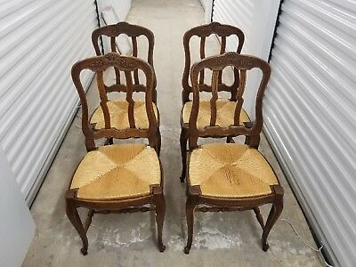 Antique Country French Carved Chairs With Rush Seats Set of 4