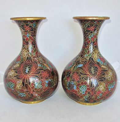 "Antique ? 9.1"" Pair of Chinese Brown, Green & Red Cloisonne Vases with Flowers"