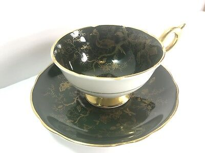Vintage Coalport Bone China Teacup and Saucer Green Gold Made in England