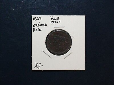 1853 BRAIDED HAIR HALF CENT EXTRA FINE 1/2C Coin Auction Starts At 99 Cents!