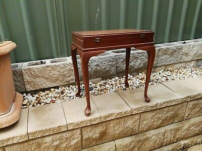 Small vintage Antique side table with opening top lid. good condition