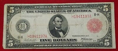1914 $5 Red Seal Federal Reserve Note VG-Fine SCARCE