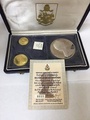 Rare! 1977 Bermuda Silver Jubilee Proof Coin Set $100 And $50 Gold~$25 Silver