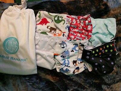 LOT of 6 Pocket Cloth Diapers Includes Wet Bag!