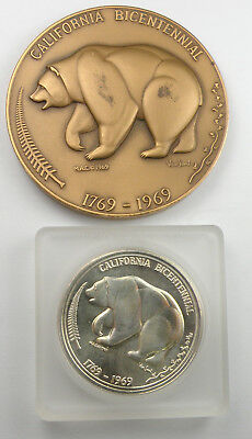 MEDALLIC ART CO. NY. - California Bicentennial Sterling Silver And Bronze Medals