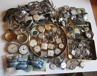6 Pounds Miscellaneous Watch Parts - Jeweler Watchmaker - Junk Drawer
