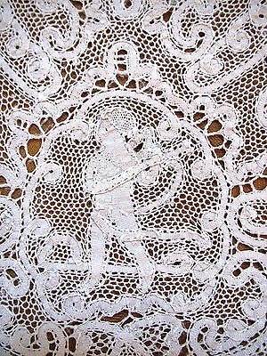 Vintage Placemats Italian Set 12 Handmade Bobbin Lace Figural Man Table Mats