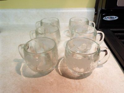 1970's Nestle's Nescafe Coffee Glass Cups Mugs Etched w/World Globe 8 oz. for Ho