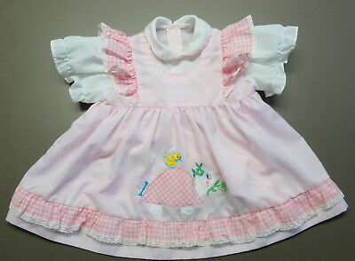 Vintage 12- 18 Mos? PINK BABY DRESS w/ ATTACHED PINAFORE Ruffles & Turtle & Bird