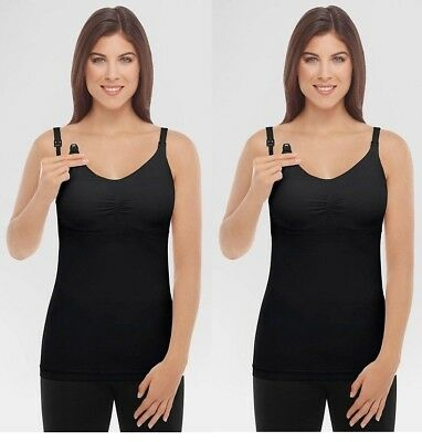 Medela Women's slimming nursing cami camisole removable pads black large new tag