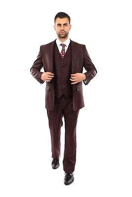 Men's Tailored Fit Textured Suit Two Button 3 Piece Vested Formal Business Suits