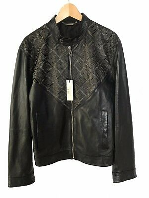 0ed03a241 NWT VERSACE COLLECTION Men's BLACK LEATHER BOMBER JACKET Size 54 (2XL) $1895