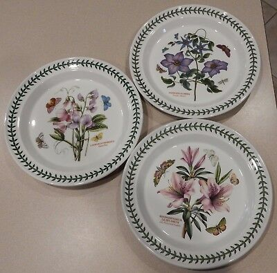 Portmeirion China BOTANIC GARDEN Dinner Plates   Set Of Three   Flowers