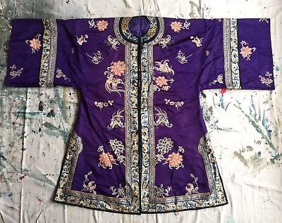 Antique Chinese Robe Purple Silk Moths & Florals Qing Dynasty 19th Century Fine