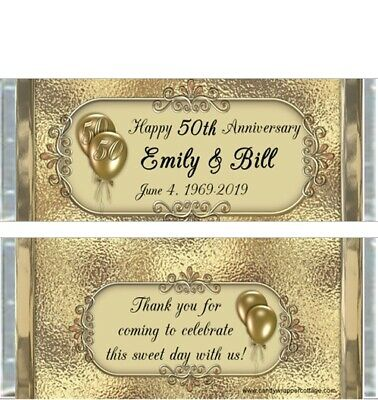 20 50th ANNIVERSARY PARTY PERSONALIZED CANDY BAR WRAPPERS FAVORS