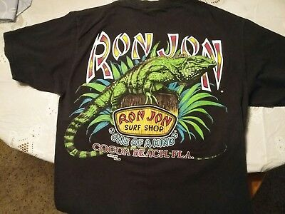 Cocoa Beach 90's Ron Jon T-shirt Size L FRONT POCKET 2 SIDED Thk Bright Graphics