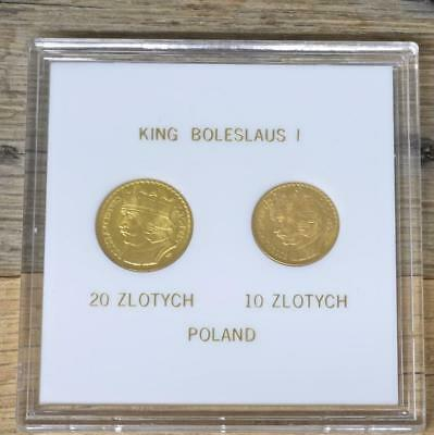 (ND) 1925 Poland Gold 10 and 20 Zlotych Coins, Choice Uncirculated