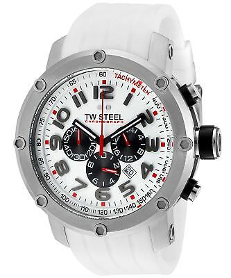TW Steel TW123 Grandeur Tech White Rubber Chronograph 48MM Dial Watch