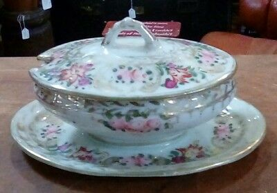 Antique Diminutive English Painted Tureen With Under Plate & Lid